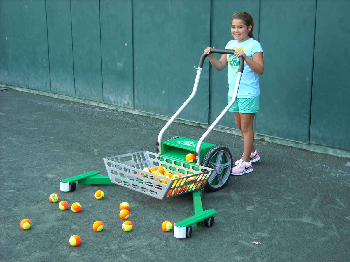 Child with ball mower