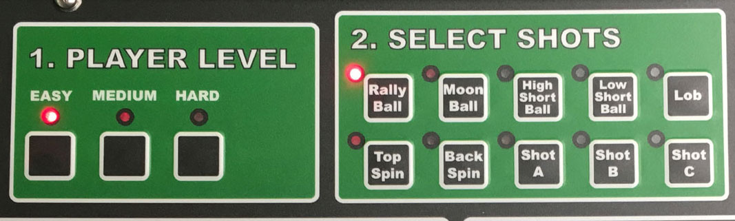 Select shots on you iGENIE ball machine